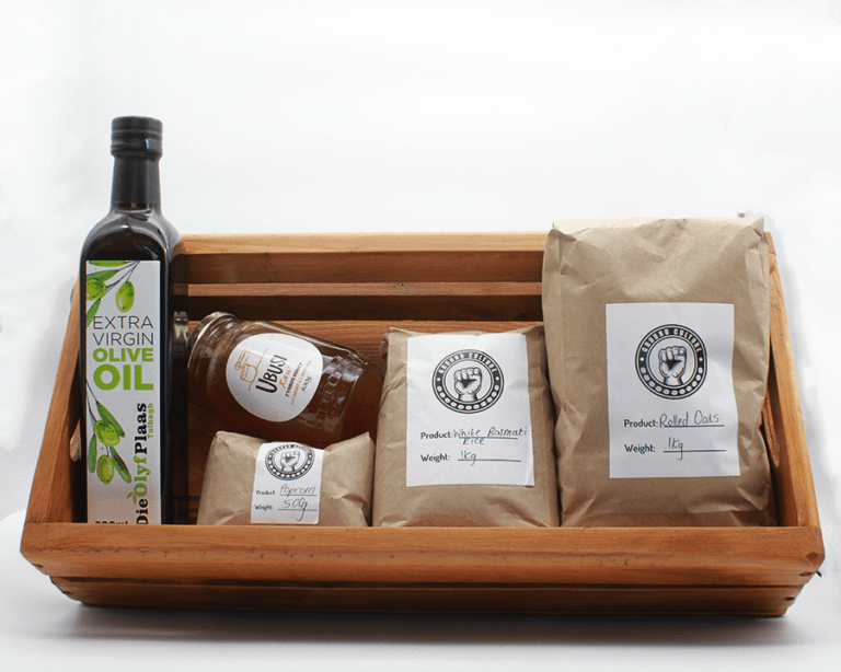 Pantry Bundle in a wooden Basket with a white background