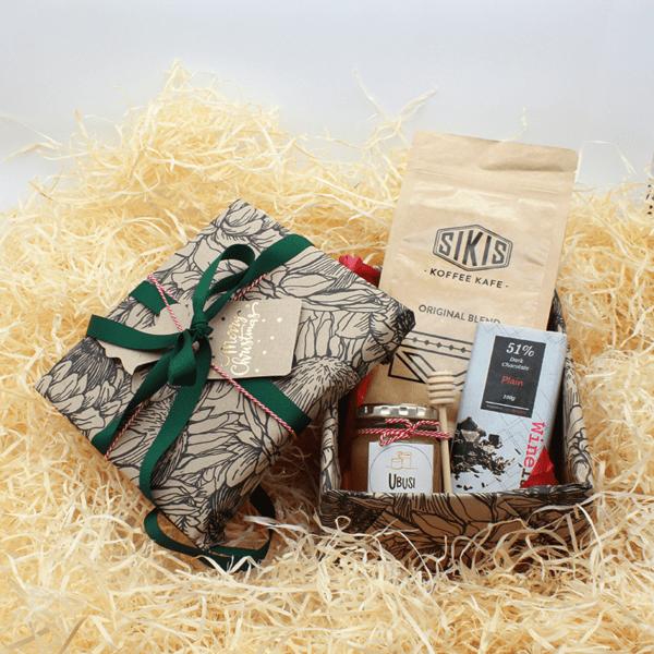 Christmas gift including SIKIS coffee, ubusi honey and winelaltes chocolates