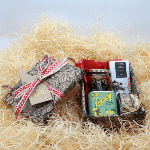 Dad's Christmas Gift Bundle made up of braai salt, chili relish, mixed nuts and chocolate