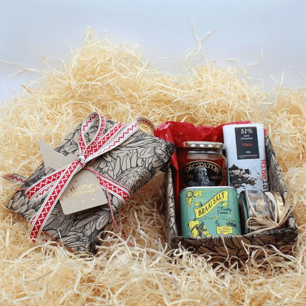 Dad's Christmas Gift Bundle made up of braai salt, chili relish, mixed nuts and chocolate