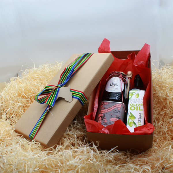 Pantry persons bundle with honey, olive oil & spice in a wooden box with south african ribbon