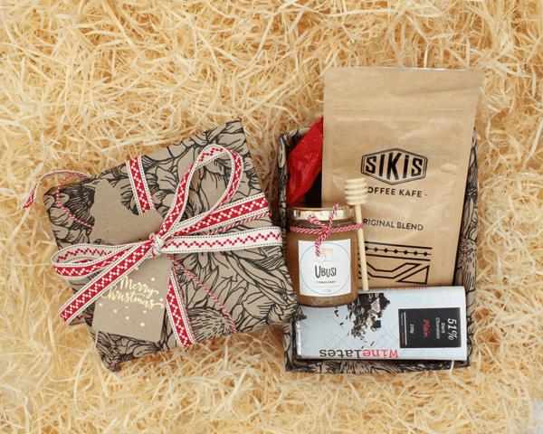 Township gift bundle made up of sikis coffee, ubusi honey and winelates chocolate