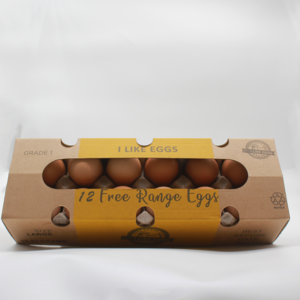 local free range eggs in cardboard boxes with a white background