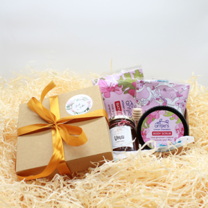 Mother's day mood booster bundle in brown gift box with satin ribbon. proudly local